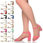 Womens ladies low mid heel buckle ankle strap peep toe party strappy sandal size