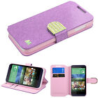 For htc Desire 510 PHONE PURPLE Glitter WALLET DIAMOND COVER CASE + SCREEN FILM