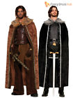 Mens Game of Thrones Fur Trimmed Cloak Jon Snow Medieval Fancy Dress Costume