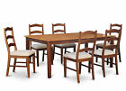 HENL7-SBR 7 Piece dining table set-Dining table with Leaf and 6 Dining Chairs.