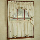 Sunflower Cream Embroidered Kitchen Curtains - Tiers Valance Or Swag