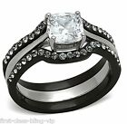 Size 8 9 10 P R T WEDDING RING SET Simulated Diamond 6mm Black Steel LTK1343E