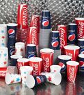 Strong Paper Soft Drinks Cups Disposable Coke Coca Cola / Star Design All Sizes £8.95  on eBay