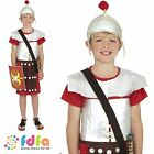 ROMAN SOLDIER GLADIATOR TUNIC & HAT - age 7-12 - kids boys fancy dress costume