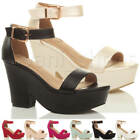 WOMENS LADIES HIGH BLOCK HEEL ANKLE STRAP PLATFORM PEEP TOE SHOES SANDALS SIZE