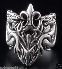 925 STERLING SILVER DRAGON FLEUR GEMSTONE TRIBAL BIKER RING US sz 7 to 15