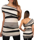Women Black Cream Stripe One Shoulder Party Top Size 8 S NEW MADE IN USA