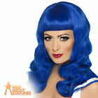 Ladies Katy Perry Blue Wig California Girl Wavy Fancy Dress Costume Accessory