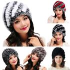 Women Beautiful Warm Rabbit Fur Hat Rex Rabbit Fur Knitting Cap