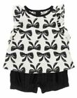 NWT Crazy 8 Girls Bow 2pc Outfit Set Lot Black & White 18-24 months 2- 2T NEW
