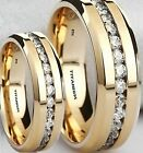 New His And Hers Created Diamonds Titanium Gold Gp Wedding Engagement Ring Set