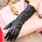Women elbow LONG Italian NAPPA leather punk rock rivet performance T show gloves
