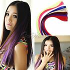5Pcs Fashion Colored Hair Extensions Straight Highlight Rock Clip In Head Real