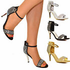 Womens Diamante Mid Heel Sandals Ladies Open Toe Barely There Evening Shoe Heels