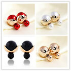 Trend Double Sided Candy Color Ball Studs Earrings For Women Girls Jewelry