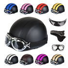 New Motorcycle Motorbike Scooter PU Open Face Half Helmet With Sun Visor+Goggles