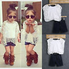 Girl Baby kid Lace Tops White T-Shirt+Vest+ Denim shorts Outfit Clothing 3pc/set
