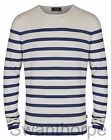 MENS BOSIDENG LONDON CREAM & NAVY KNIT LONG SLEEVE STRIPE CREW NECK JUMPER 56005