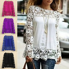Design Women Sheer Sleeve Embroidery Top Blouse Lace Crochet Chiffon Shirt Noble