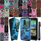 For HTC Desire 510 512 Dual Layer Bumper HYBRID Soft HARD Case Cover + Pen