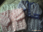 Hand Knitted Lacy Baby Cardigan/Coat Size 0-3 Months.