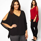Fat Women Summer Cool Strapless V-Neck Top Chiffon Shirt Batwing Sleeve Blouse