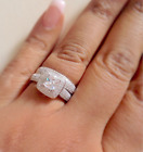 925 Silver Ladies 2 piece Wedding Engagement Cushion Cut Halo Bridal Ring Set
