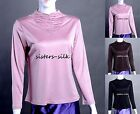 Women's 100% Pure Silk Knitted T-Shirts Long Sleeve Underwear Tops AF537