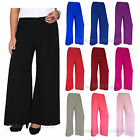 NEW LADIES PLUS SIZE PALAZZO TROUSERS BAGGY FLARED WOMENS WIDE LEG PAINTS 12-30