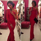 Long Lace RED Evening Formal Party Cocktail Prom Gown Pageant Full Length Dress