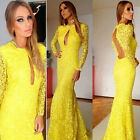 Women Long Mermaid Party Dresses Ball Gown Prom Formal Bridesmaid Dresses Yellow
