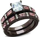 Size 8 9 10 P R T 2PC Engagement Ring WEDDING SET Chocolate Steel LTK1829DCE