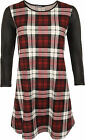 New Womens Tartan Check Print Long Wet Look Sleeve Ladies Swing Dress 8-14