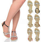 Womens ladies flat t-bar diamante sparkly studded strap summer sandals size