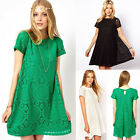Women Casual Lace Short Sleeve Maxi Kleid  Bluse Tops Cocktailkleid Partykleid