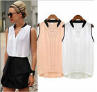 Gifts For Women Summer Loose White Chiffon Sleeveless Vest Shirt Tops Blouse New