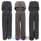 Womens Strapless Polka Dot Bandeau Jumpsuit Ladies Long Spotted Palazzo Jumpsuit