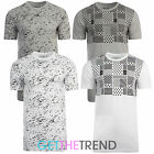 New Mens Casual Longline White Grey Print Tshirt Mens Long Tee Shirt Baggy Top