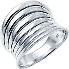 925 Sterling Silver Layered Design Celebrity Style Wide Woman's Ring Size 3-11