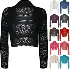 New Womens Crochet Knit Ladies Long Sleeve Crop Shrug Bolero Cardigan Top 8-14