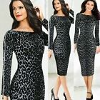 Women Leopard Zipper Tunic Bodycon Business Party Cocktail Pencil Midi Dress NEW