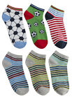METZUYAN Boys Print Socks 3 Pack Novelty Kids Stripes Football Cotton Rich