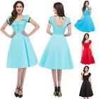 NEW VINTAGE STYLE DRESSES SHORT SLEEVE SWING PARTY COCKTAIL DRESS HOUSEWIFE GOWN