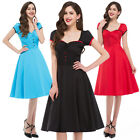 BLUE+ Vintage Style Rockabilly Retro Swing 50's 60's Pinup Housewife Party Dress