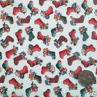 Ivory cute christmas stocking Fabric 100 % cotton per 1/2 mtr / FQ Rose & Hubble
