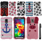 For Samsung Galaxy S5 Active G870A DIAMOND BLING HARD Case Phone Cover + Pen