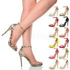 WOMENS LADIES HIGH HEEL BARELY THERE STRAPPY BUCKLE PEEP TOE SHOES SANDALS SIZE