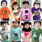 Lots of 100% Cotton Long Sleeve T-shirt for Baby Toddler Kids Boys Girls 1-7yrs
