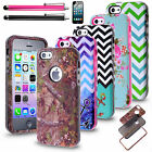 Forest Wave Patterned Rugged Rubber Matte Case Cover With Pen For Apple iPhone5c