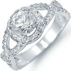 925 Sterling Silver Clear CZ Abstract Infinity Engagement Wedding Ring Size 3-11